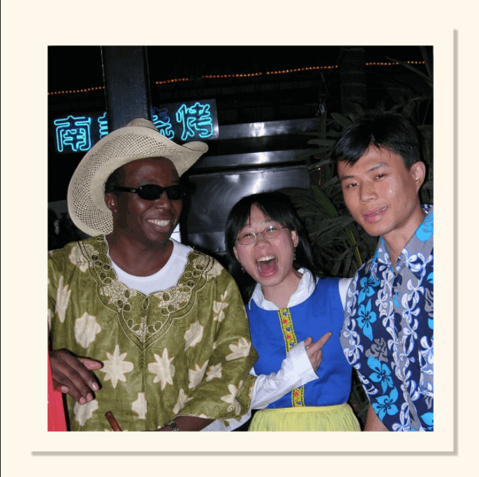 D'amour Playing the cowboy in his student party in china