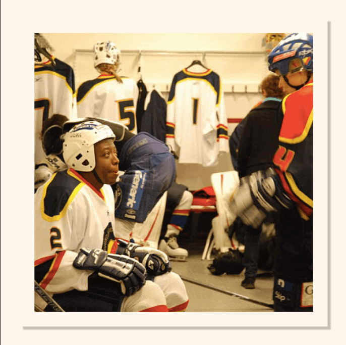 D'amour getting ready to play his first and last hockey match